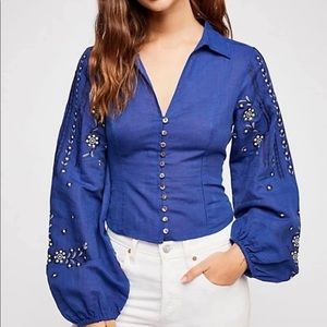 Free People dance with me embroidered blouse